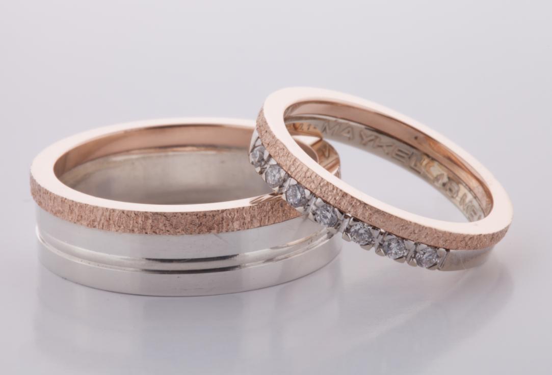 Wit Rose Gouden Ringen 2 Heren Ring Gedeelte Zilver